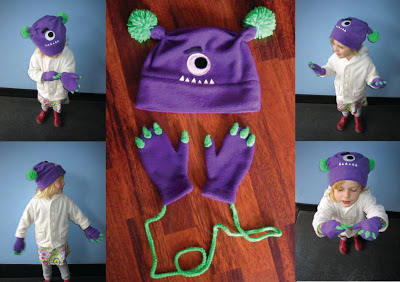 monster hat and mittens, monster mittens, make your own monster hat