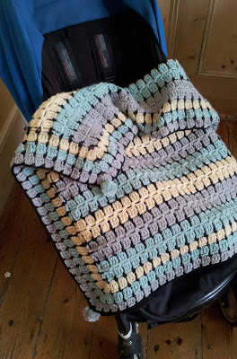 buggy blanket. funky crochet baby blanket, great baby afghan crochet pattern, mid century crochet blanket