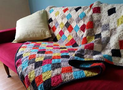 Modern Granny Blanket,Modern granny square afghan,pixel afghan